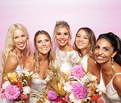 creative booth backdrop spring pink